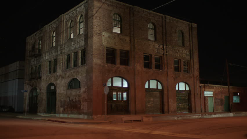 Hd0013night Hold Tight Corner 3 Story Distressed Run Down Brick Industrial Building Warehouse Loft Apartment 544 Fire Escapes Arched Windows