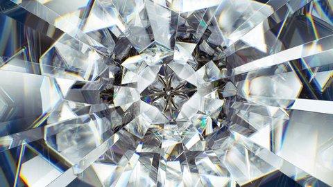 sparkling diamond macro rotating seamless loop. kaleidoscope