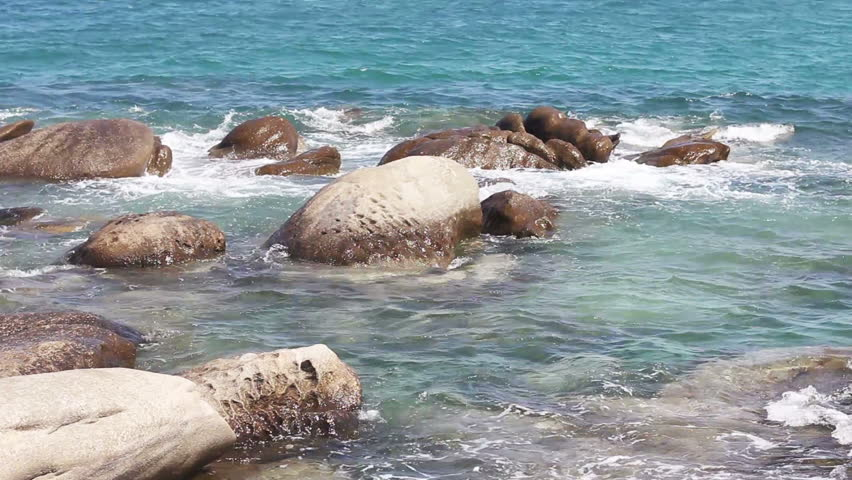 Rocks In Spanish Part - 42: Seascape And Rocks Shore, Beautiful Turquoise Sea On The Summer Day. - HD  Stock