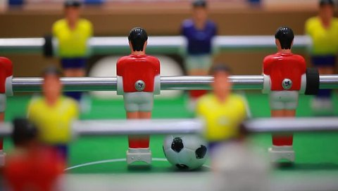 video foosball table soccer . football players sport teame