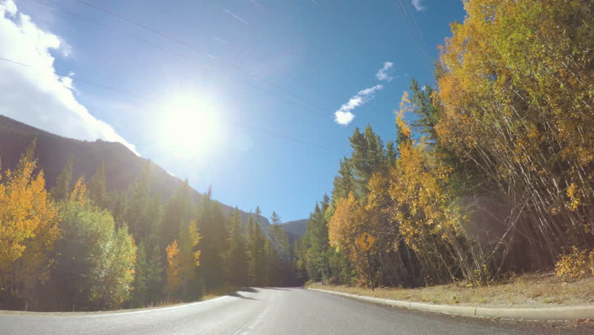 POV point of view - Driving through  alpine forest in the Autumn.   Shutterstock HD Video #19972798