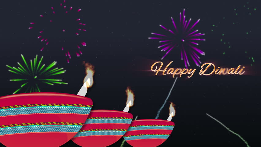 Animated Happy Diwali Wish, Fireworks And Illustrative Lamp ...