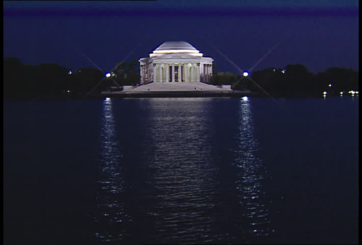 Jefferson Memorial across the Potomac River at Night Zoom