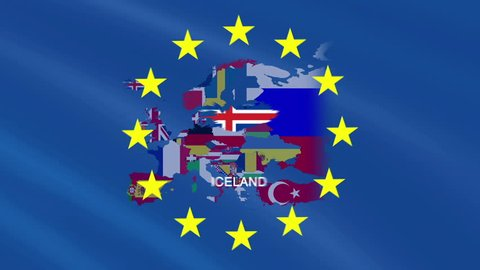 Iceland. Map over Europe. Motion Graphics
