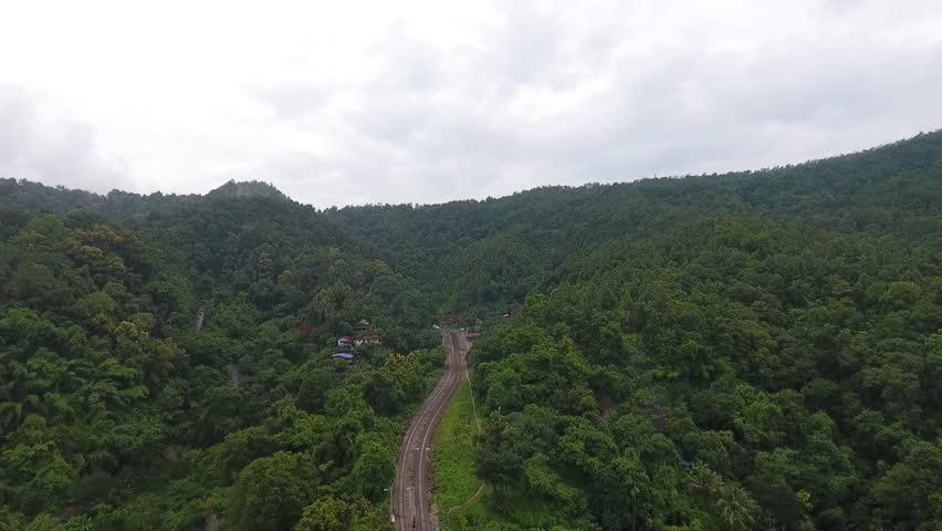 Aerial shot of  railway