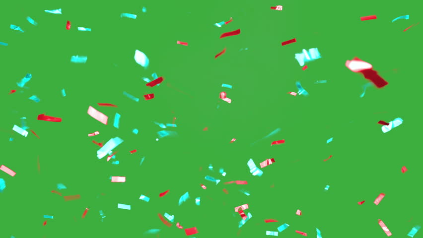 real falling confetti in the colors cyan and red for  advertising, family, club, victories, national or company celebration
