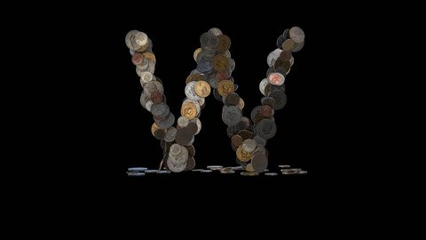 """Letter """"W"""" from dimes, pennies, nickels, quarters, half and one dollar coins. In - 3 sec.; Idle - 4 sec.; Out - 3 sec.; at 60 fps"""