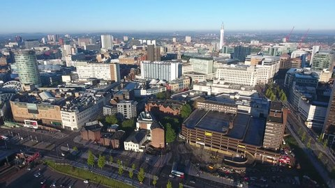 Aerial view of Birmingham city centre in the UK, with cars buses and traffic moving.