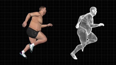 fat man morph into bodybuilding while running