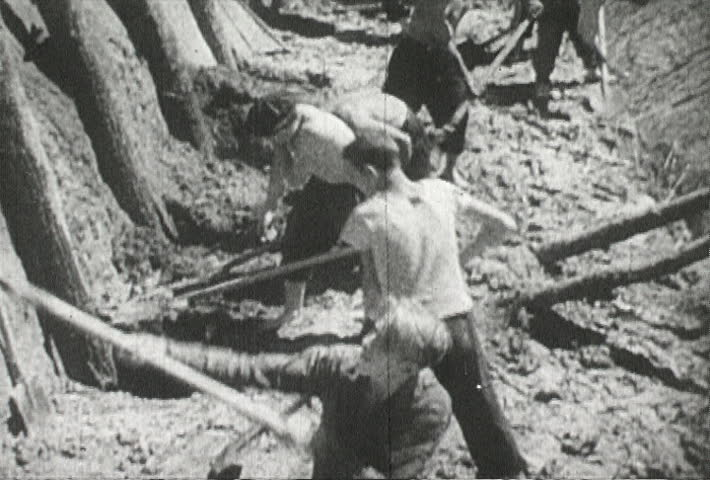 EUROPE - CIRCA 1942-1944: World War II, Citizens Help Build Trenches