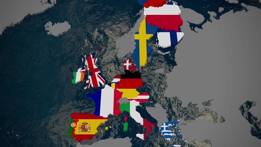 Map of Europe, member countries fall into place by join date, flags, 3D