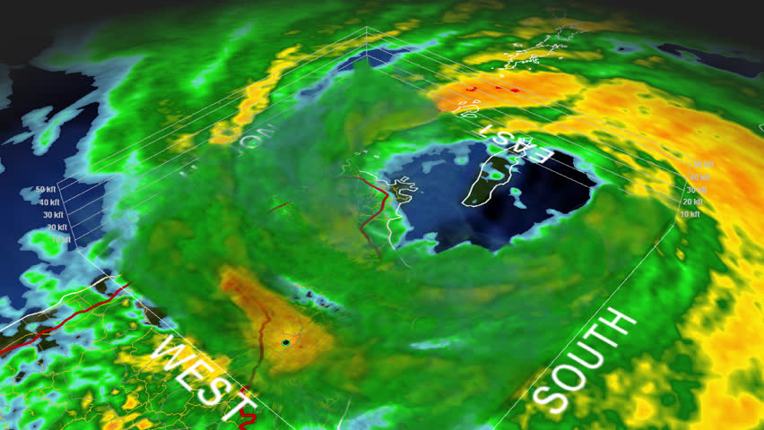 """Hurricane Georges 1998 Puerto Rico Landfall 3D """"volumetric"""" radar imagery. This work was created using archived NEXRAD Data from the NWS that is not subject to copyright protection."""