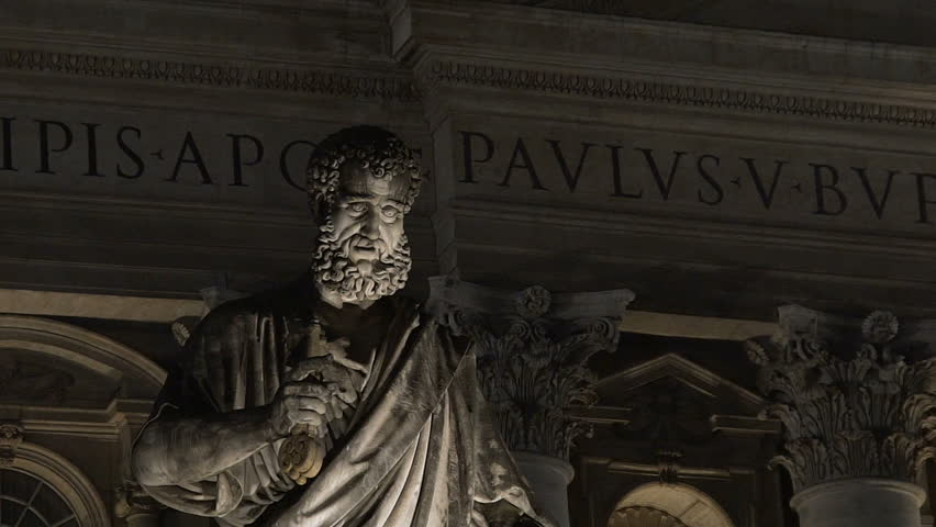antique marble statue of apostle saint peter standing before italian church hd stock footage clip