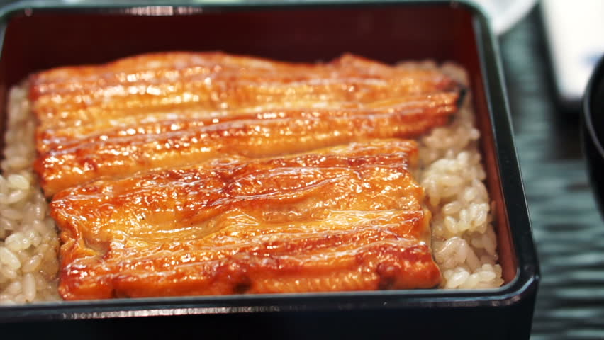 Unagi don, Japanese premium dish marinated grilled sea eel with special sauce on top of rice
