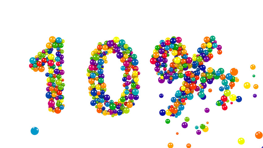 10 percent symbol in multicolored spheres or balls for a festive celebration, marketing, promotion, business, education or accounting over a white background with copy space