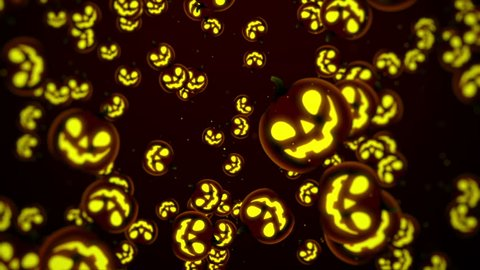 Halloween Background, Looped. Jack-O-Lantern Halloween Pumpkin with scary face background.