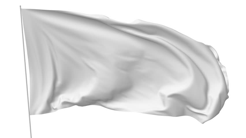 Blank plain white flag with flagpole waving in the wind, surrender flag 3D animation with luma matte alpha channel included | Shutterstock HD Video #20238148