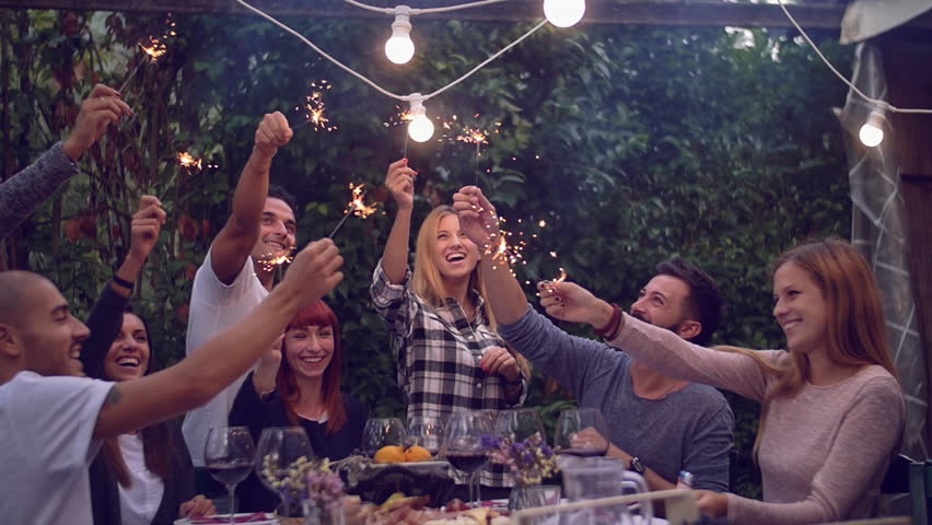 Amazing Dinner Party Video Part - 2: Friends Holding Lit Sparklers At A Dinner Party Stock Footage Video  20269078 | Shutterstock