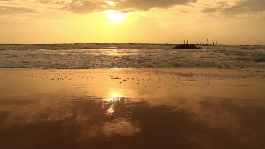 Nature background. Ocean beach waves on beach at sunset. Evening beautiful HD video | Shutterstock HD Video #20298688