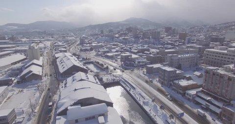 Aerial view of Otaru Canal in Hokkaido, Japan
