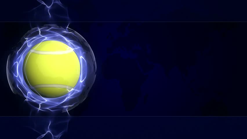TENNIS BALL Animation in Blue Abstract Particles Ring, Loop, 4k
