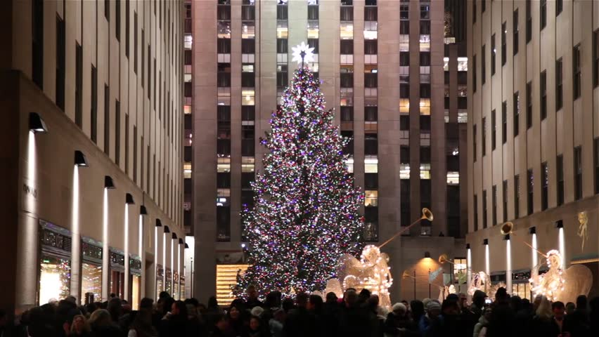 Christmas tree in Rockefeller Center in New York circa 2016