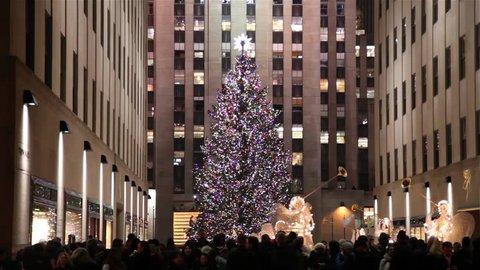 Christmas tree in Rockefeller Center in New York circa 2016