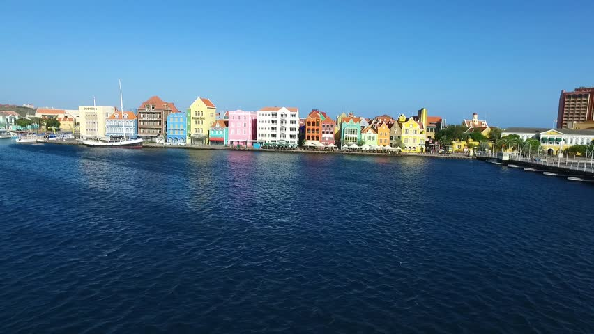 Aerial of world heritage buildings in Punda, Curacao
