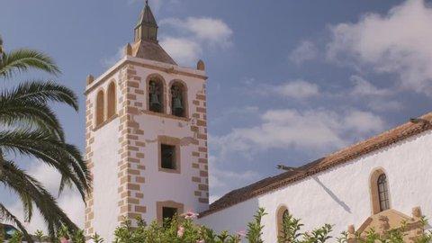 Betancuria Church, Fuerteventura. The bell tower of the Iglesia de Santa Maria in Betancuria, Canary Islands.