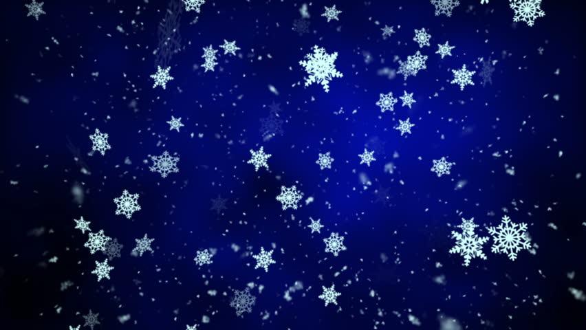 Snowfall On Darkly Dark Blue Background Snowflakes Stock