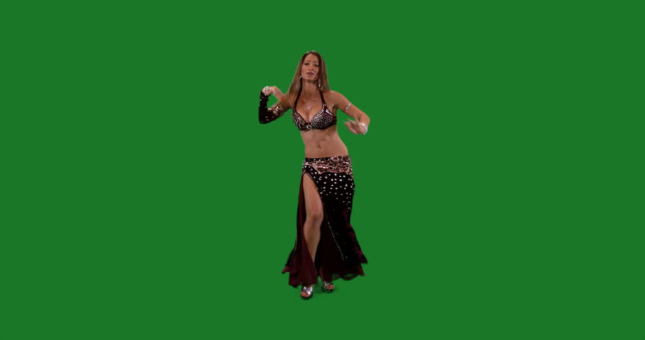Green Screen Beautiful Belly Dancer Dancing Ethnic Dances