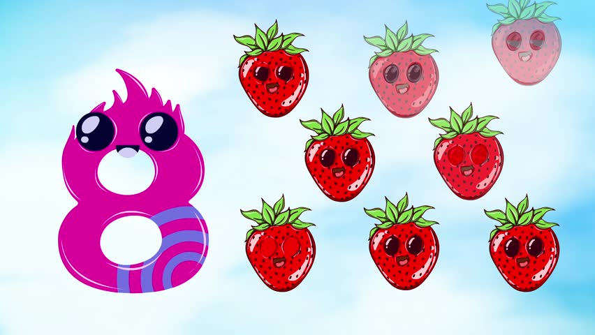 Cartoon animated Number 8 and 8 strawberries to teach kids counting number eight.Cute design style for kids.
