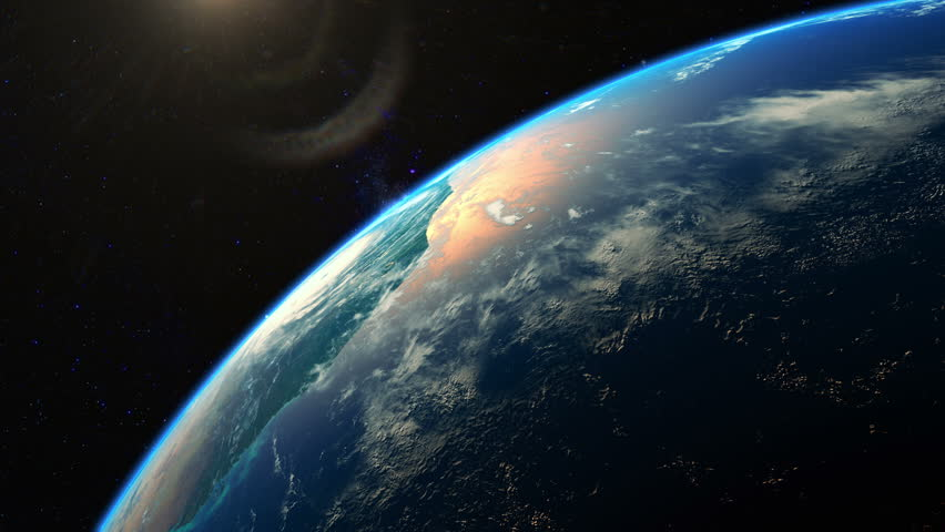Beautiful realistic sunrise over planet Earth seen from space. Earth rotation. 4K highly detailed 3d render.