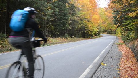 KEENE, NEW YORK CIRCA OCTOBER 2016. Despite its distance from any major cities, autumn often brings throngs of hikers and cyclists to the Adirondacks to see the foliage and get some fresh air.