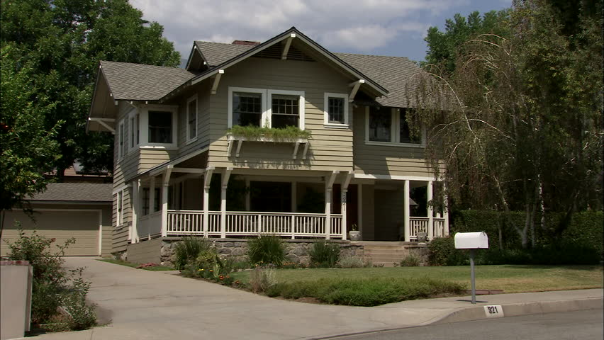 Day Static Right Aked Left Two Story Brown Wood Clapboard Craftsman Style House White Trim