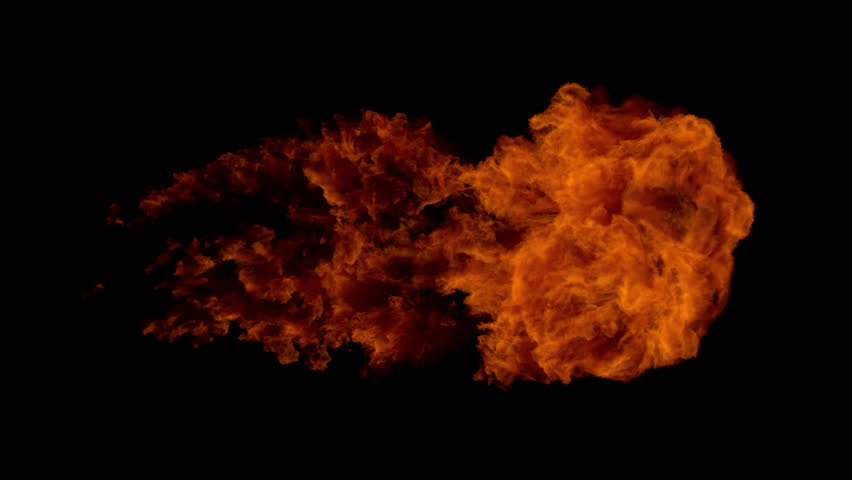 High Speed Fire ball explosion, slow motion fire flamethrower isolated on black background with alpha channel, perfect for cinema, digital composition, video mapping.