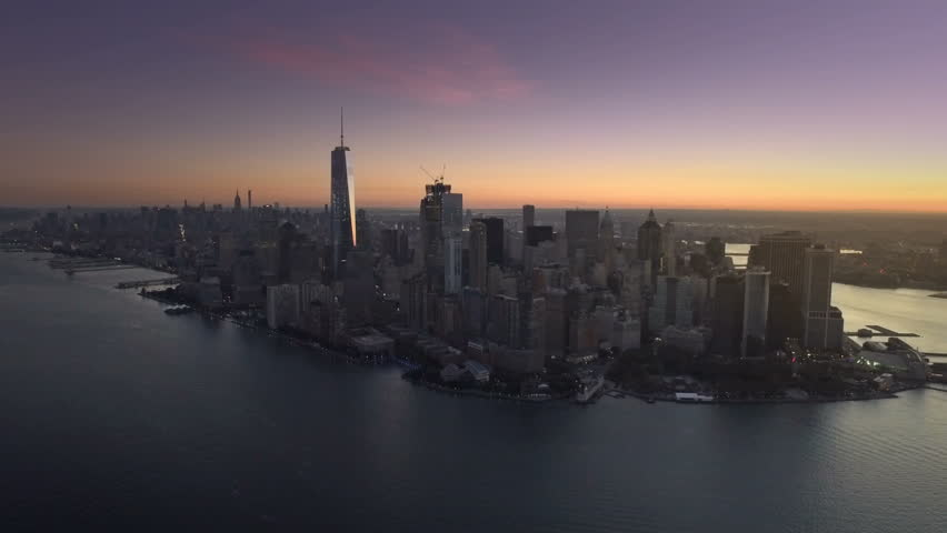 Downtown NYC aerial reveal at dawn | Shutterstock HD Video #20446303