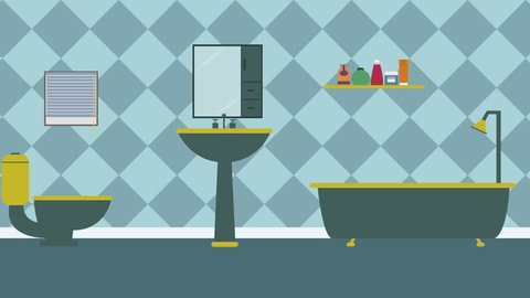 Cartoon Modern colorful Bathroom Animation with space for your text or logo, cool vector typical Bathroom background seamless loop, 4k. rest and relax concept. sweet home and Interior decor.