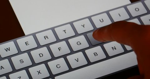4k Finger operating touch typing email on touchscreen keyboard pad,Virtual Keyboard,Shallow depth of field,computer notebook laptop keyboard input closeup.gh2_08560_4k