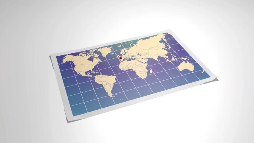 Stock Video Clip of World Map with closeup in pushpin in Shutterstock