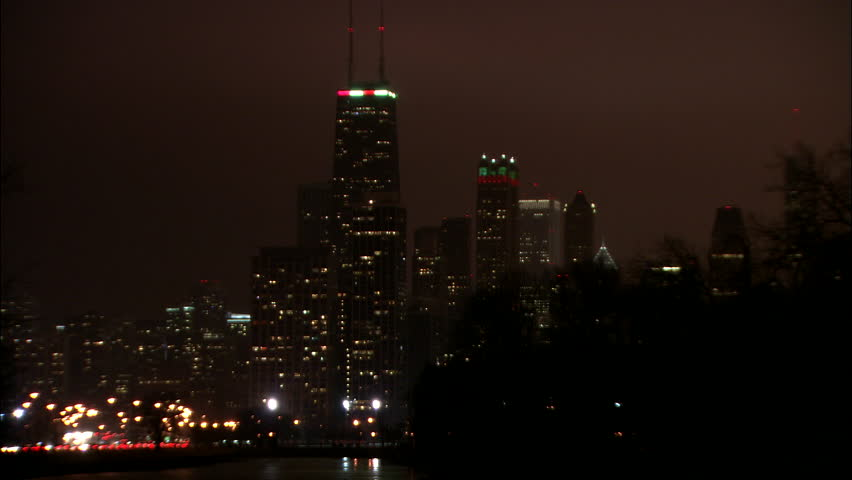 Christmas In Chicago Skyline.Night Hold Across River Water Stock Footage Video 100 Royalty Free 20472028 Shutterstock