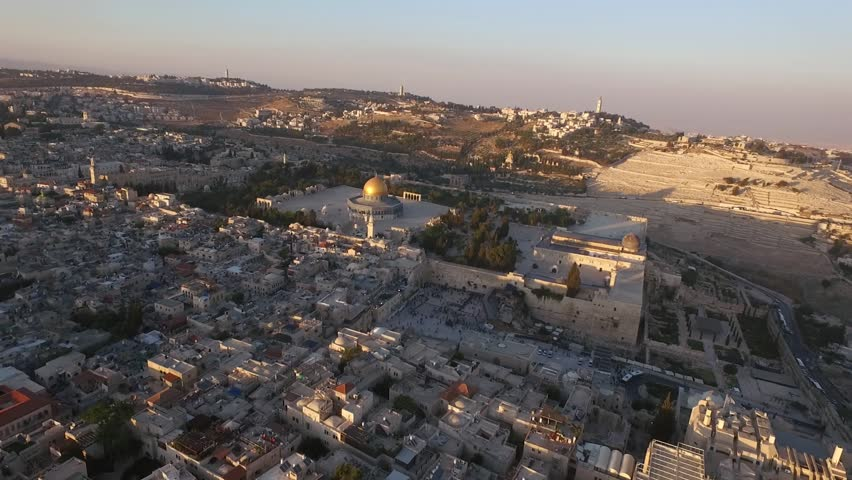 Aerial view of Jerusalem old city, Temple mount mosque, Western wall  Israel- Palestine Epic evening shot around Jerusalem old city with Dome of the Rock on Temple mount and facing the western wall