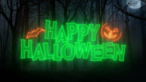 Happy Halloween Loop Animation/ Dark Forest Background