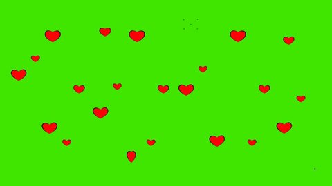 red hearts flying up and burst, green background