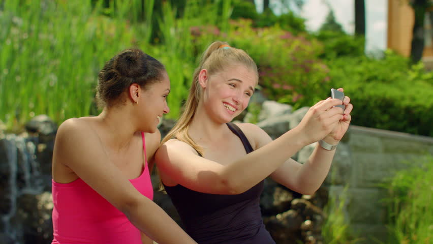 Happy Girlfriends Taking Photo With Smartphone In Park Selfie Friends Outdoors Multi -5431