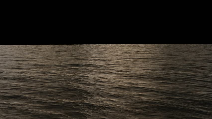 4k ocean surface loop with alpha, isolated on black, soft evening sunset light (UHD, ultra high definition, 1080p, seamless loop). Great background for movie credits