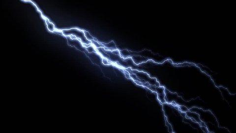 10 Realistic lightning strikes over black background. Thunderstorm with flashing lightning thunderbolt