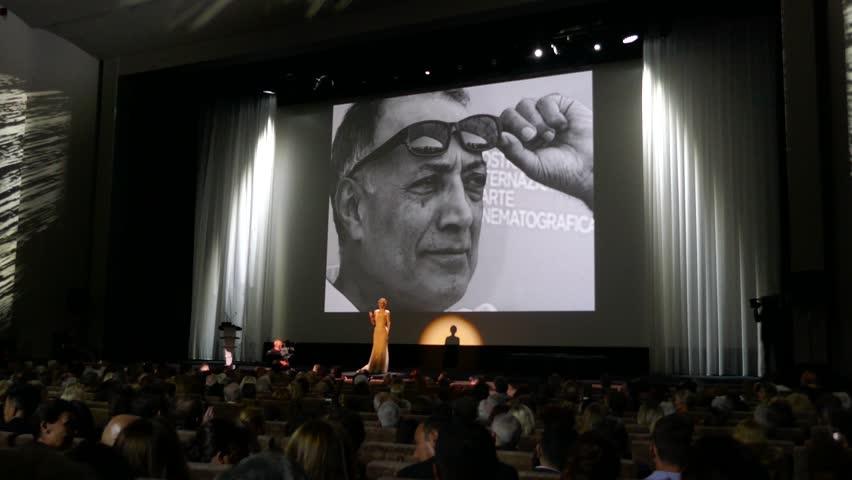 Venice, Italy, September 2016: 73th Venice international film festival paid tribute to Abbas Kiarostami during the opening ceremony