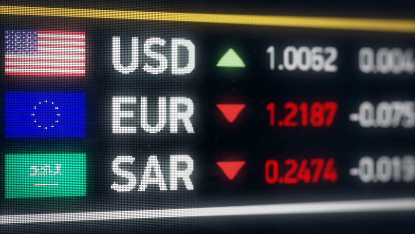 Saudi Riyal, US dollar, Euro comparison, currencies falling, financial crisis. World currencies plummet down, financial crisis, stock market crash | Shutterstock HD Video #20582560