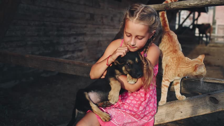 Little Curly Girl in a Pink Dress Caresses a Puppy and Cat at the Farm